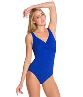 Penbrooke Krinkle Cross Over Chlorine Resistant One Piece Swimsuit