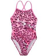 Tidepools Girls' Leopard Contrast Cross Back 1PC (7-14)