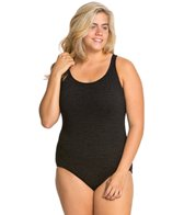 Penbrooke Krinkle Plus Size One Piece Cross Back Chlorine Resistant Swimsuit