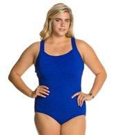 Penbrooke Krinkle Plus Size D-Cup Active Back Chlorine Resistant One Piece Swimsuit