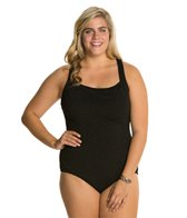 1e0a7c30b42 Penbrooke Krinkle Plus Size Chlorine Resistant One Piece Cross Back ...