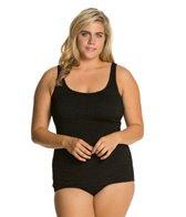 Penbrooke Krinkle Plus Size Scoop Neck Sheath Chlorine Resistant One Piece Swimsuit