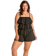 Fit4U Swimwear Plus Size Solid Tiered Swim Romper