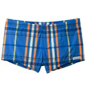 Sauvage Men's Como Italia Plaids Square Cut Swim Short