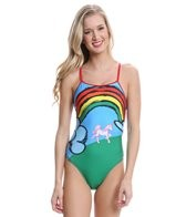 Splish Unicorns and Rainbows Thin Strap One Piece Swimsuit