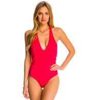 Peixoto Swimwear Flamingo Strip One Piece Swimsuit