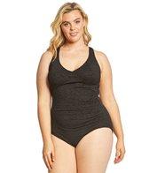 Penbrooke Plus Size Krinkle Mock Surplice Chlorine Resistant One Piece Swimsuit
