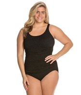 Penbrooke Plus Size Krinkle Empire Mio Chlorine Resistant One Piece Swimsuit