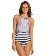 Kingdom & State Digital Coliseum Striped Racer Front One Piece Swimsuit