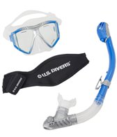 U.S. Divers Azul Purge LX Mask with Neoprene Mask Strap Cover  and Tucson LX Snorkel Set