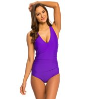 Speedo Women's Solid V-Neck One Piece Swimsuit