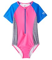 Speedo Girls' Short Sleeve Zip One Piece Swimsuit (4yrs-6X)