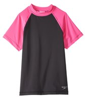 Speedo Girls' Colorblock UPF 50+ Short Sleeve Rashguard (7yrs-16yrs)