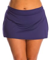 Anne Cole Plus Size Color Blast Solid Swim Skirt