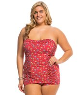 Bettie Page Plus Size Tiki Palms Bandeau Ruched Sheath One Piece Swimsuit
