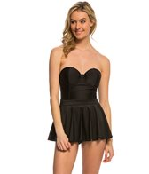 Bettie Page Swatch Solid Bandeau Shaped Cup Swim Dress