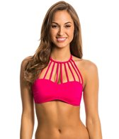 Kenneth Cole Shirr Thing High Neck Bandeau Bikini Top