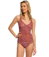 Solar Tan Thru Paisley V-Neck One Piece Swimsuit