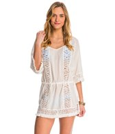 Sofia Solid White Crochet Caftan Cover Up
