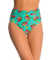 Betsey Johnson Swimwear Flower Bomb High Waist Bikini Bottom
