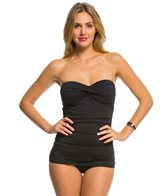 Tommy Bahama Pearl Solids Shirred Twist Front Bandeau One Piece Swimsuit