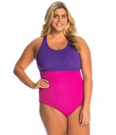 sporti-plus-size-textured-high-neck-colorblock-one-piece-slimsuit