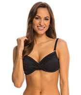 Swim Systems Onyx Shirred Underwire Bikini Top (D-Cup)