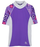 Tuga Girls' UPF 50+ Plumeria Passion Seaside S/S Rash Guard (2yrs-14yrs)