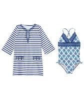 Cabana Life Girls' UPF 50+ Coastal Crush One Piece Swimsuit & Cover Up Set (2T-6X)
