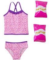 Jump N Splash Toddler Girls' Happy Heart Two-Piece Swimsuit w/ Free Floaties (2T-4T)