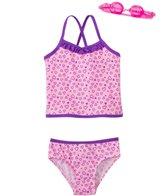 Jump N Splash Girls' Happy Heart Two-Piece Swimsuit w/ Free Goggles (4-6X)