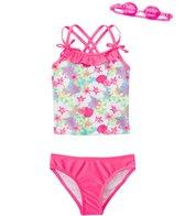 Jump N Splash Girls' Aloha Flower Two-Piece Swimsuit w/ Free Goggles (4-6X)