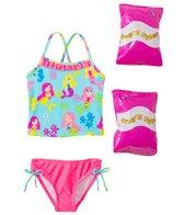 Jump N Splash Toddler Girls' Mermaid Party Two-Piece Swimsuit w/ Free Floaties (2T-3T)