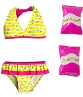 Jump N Splash Toddler Girls' Baby Heart Two-Piece Swimsuit w/ Free Floaties (2T-4T)