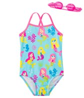 Jump N Splash Girls' Mermaid Party One Piece Swimsuit w/ Free Goggles (4-6X)