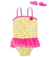 Jump N Splash Girls' Baby Heart Skirted One Piece Swimsuit w/ Free Goggles (4-6X)