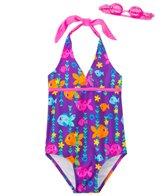 Jump N Splash Girls' Fab Fish Halter One Piece Swimsuit w/ Free Goggles (4-6X)