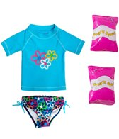 Jump N Splash Toddler Girls' Flower Power Two-Piece Short Sleeve Rashguard Set w/ Free Floaties (2T-3T)