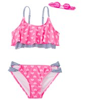 Jump N Splash Girls' Little Heart Swimsuit Set w/ Free Goggles (7yrs-14yrs)