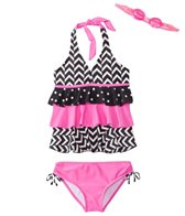 Jump N Splash Girls' Chevron Halter Two-Piece Swimsuit w/ Free Goggles (7yrs-14yrs)
