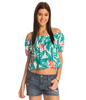 MINKPINK Swimwear Panama Palms Peasant Top