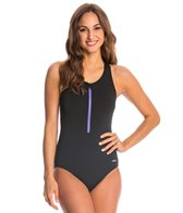 Dolfin Aquashape Zip-Front Racerback One Piece Swimsuit