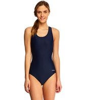 Waterpro Solid Polyester Wide Strap One Piece Swimsuit