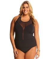 BLEU Rod Beattie Plus Size Net Worth High Neck Plunge One Piece Swimsuit