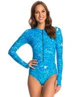 SlipIns SurfSkin Mini Blue Fish Zipper Long Sleeve One Piece Swimsuit