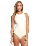 Carmen Marc Valvo Lattice Solid High Neck One Piece Swimsuit