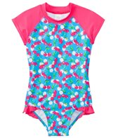 SnapMe Girls' Lucy Very Cherry Ruffle S/S Rash Guard One Piece Swimsuit UVP 50+ (6mos-8yrs)