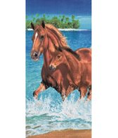 Dohler Horses In Water Beach Towel 30 x 60