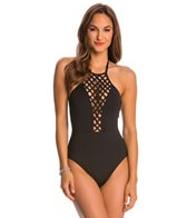 Kenneth Cole Swimwear Sheer Satisfaction Lattice High Neck One Piece Swimsuit