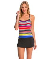 Jag Swimwear Reactive Stripe Skirted One Piece Swimsuit